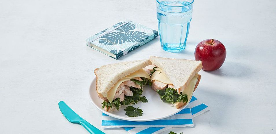 Roast Chicken, Cheese and Greens Sandwich