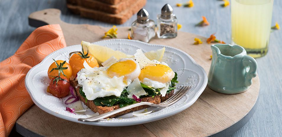 Poached Eggs with Lemon Wilted Spinach